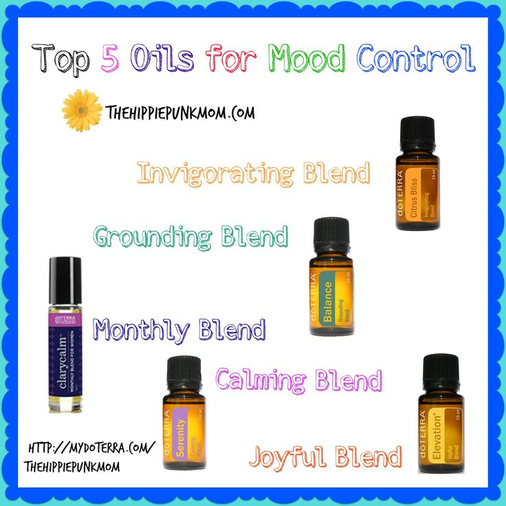 Top 5 doTERRA Essential Oils for Mood Control: Balance (Grounding Blend), Citrus Bliss (Invigorating Blend), Serenity (Calming Blend), Clary Calm (Monthly Blend), Elevation (Joyful Blend) Buy doTERRA here:  http://mydoterra.com/thehippiepunkmom