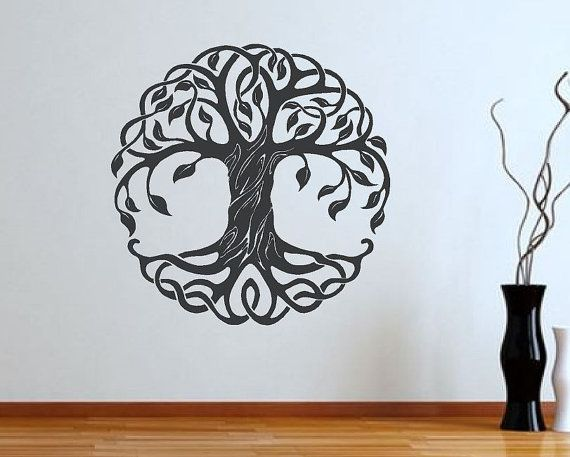 $26 Check out this gorgeous celtic Tree of Life Vinyl Wall Decal. Two sizes and many colors to choose from. Wall Art - Vinyl Sticker - Living Room Decal - Cultural Symbol - Spiritual- Home Decor - Mural. Made in the USA.