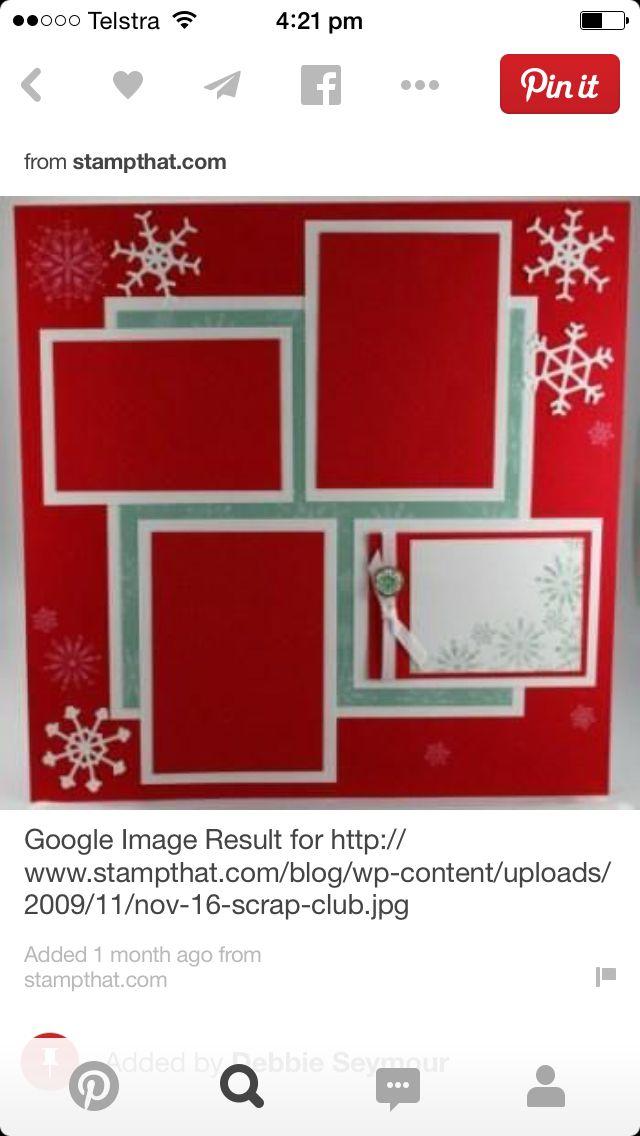 Single page ~ four photos; Christmas; snowflakes