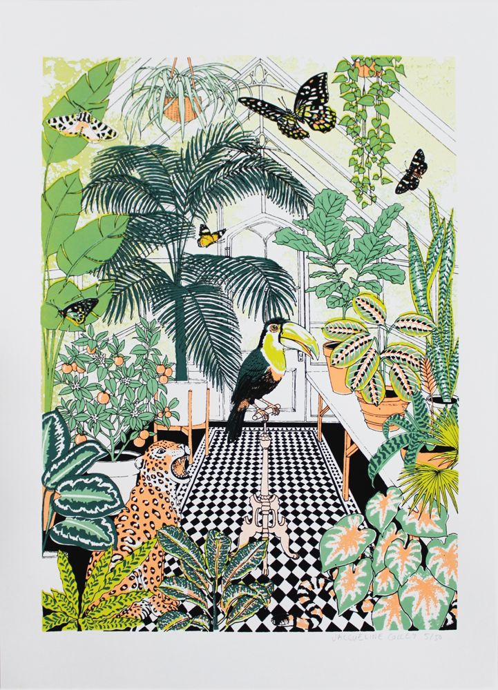 Brand new artist to Print Club Jacqueline Colley has just released a new limited edition screen print 'Explorer's Greenhouse' Available now!