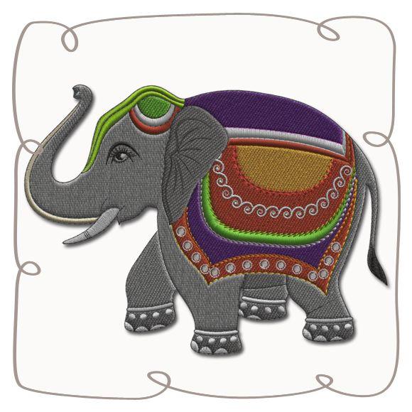 Bali Elephant 1 Applique Machine EMbroidery Design pattern-INSTANT DOWNLOAD