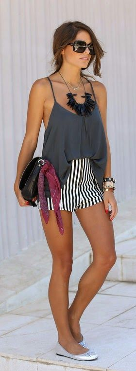 Everyday outfit. Gray top striped shorts black shoulder bag. Street summer Women fashion outfit clothing style apparel @roressclothes closet ideas