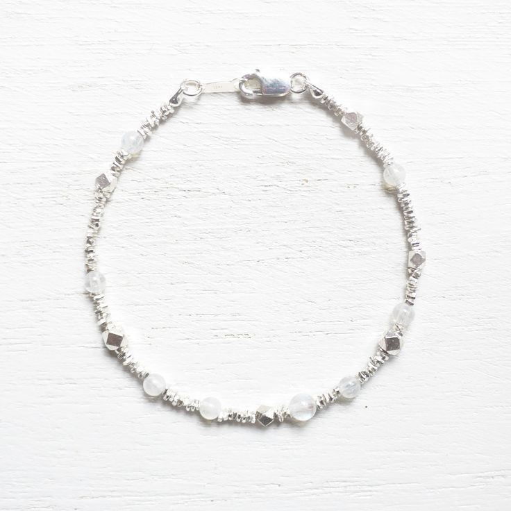 Shinning Snow - Rainbow Moonstone 925 sterling silver bracelet