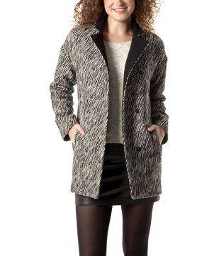 Manteau femme zébré imprimé noir - Promod 99,95€