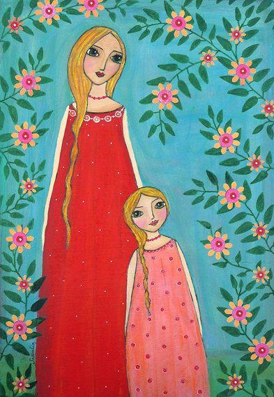 Moeder en kind schilderij Art Print op hout gemonteerd door Sascalia