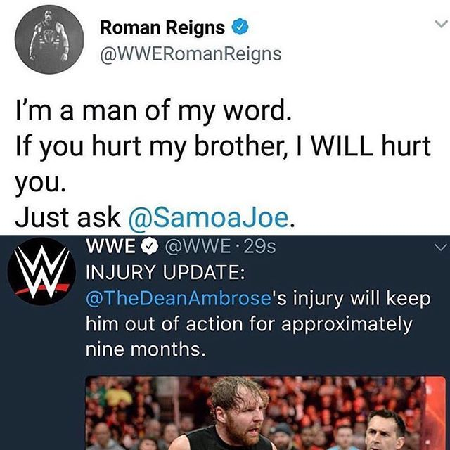 -If you hurt my brother I WILL hurt you- Roman Regins ❤️ Get Well Soon Dean ❤️ #romanreigns #deanambrose #romanempire #ambroseasylum #theguy #lunaticfringe #thebigdog #thedude #oneversusall #thislunaticrunstheasylum #ambreigns #brothers #theshield #houndofjustice #triplepowerbomb