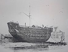 Prison - The beached convict ship HMS Discovery at Deptford, serving as a convict hulk from 1818 until 1834.