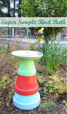 Easy bird bath and links to other bird themed kids crafts and books ~ No Time for Flash Cards