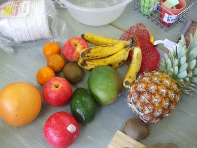 Have a good look at all the fruit from Handa's Surprise, feel the texture and talk about it before making fruit salad.
