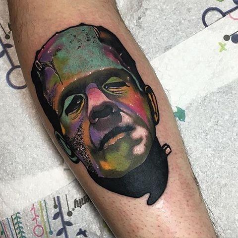 #Tattoo by @littleandytattoo  #⃣#Equilattera #tattoos #tat #tatuaje #tattooed #portrait #tattooart #tattoolife #color #tattoodesign #colors  #bestoftheday #miamitattoo #miami #mia #creative #florida #awesome #love #ink #art #design #nature #illustration #frankenstein #colorful #monster #watercolor