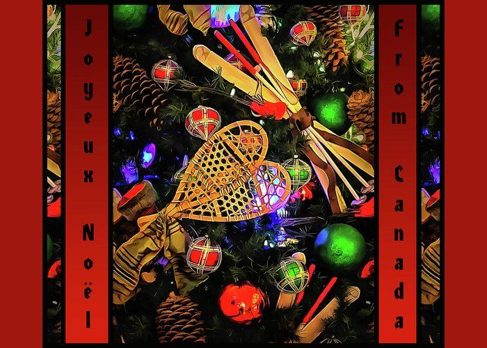 """Joyeux Noel From Canada  Greeting Card for Sale by Leslie Montgomery.  Our premium-stock greeting cards are 5"""" x 7"""" in size and can be personalized with a custom message on the inside of the card.  All cards are available for worldwide shipping and include a money-back guarantee."""