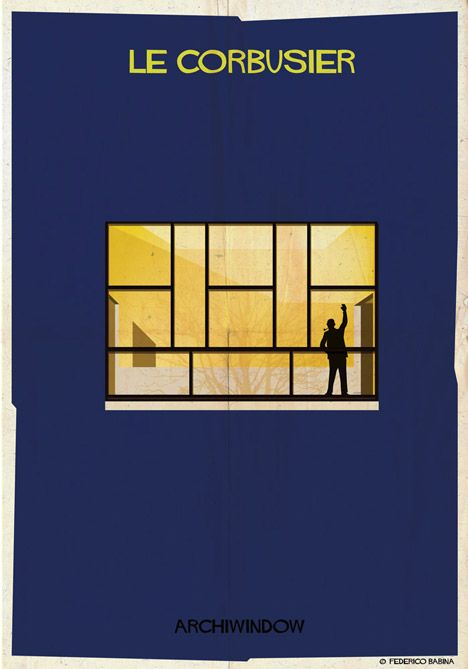 The silhouettes of architects are each depicted within a window from one of their buildings in these new illustrations by Federico Babina.