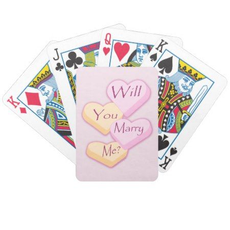 Will You Marry Me Candy Hearts Marriage Proposa Bicycle Playing Cards - tap, personalize, buy right now!