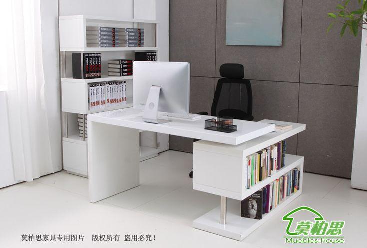 Mo Bosi pintura blanca zona de ordenadores de escritorio escritorio escritorio con suministros de envío-en mesas de ordenador de la oficina y la escuela giratorios librero en Aliexpress.com