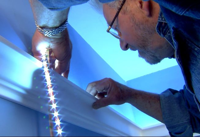 Easy, Inexpensive Cove Lighting Uses Foam Crown Molding and LED Light Tape • Ron Hazelton Online • DIY Ideas & Projects