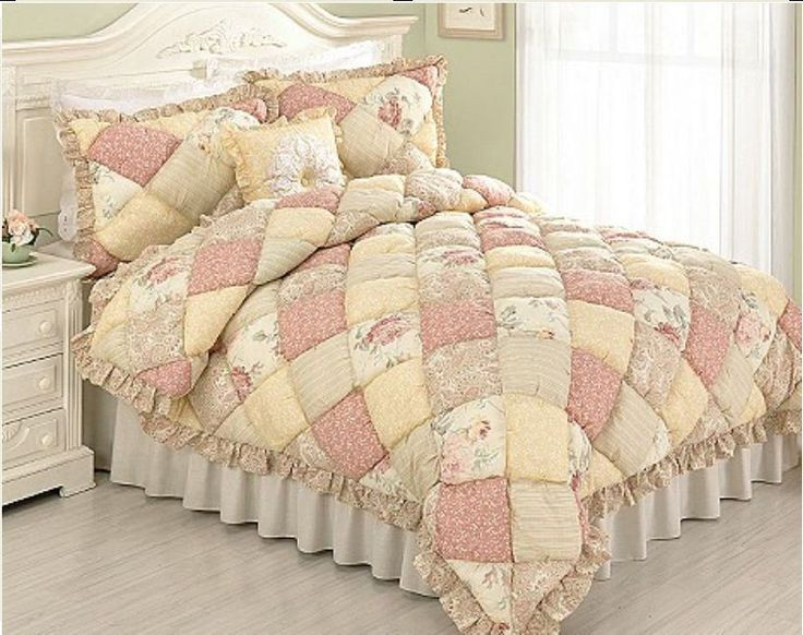 PUFF QUILT Full / Queen SET - COTTAGE PINK ROSE YELLOW FLOWERS PAISLEY COMFORTER #Cottage