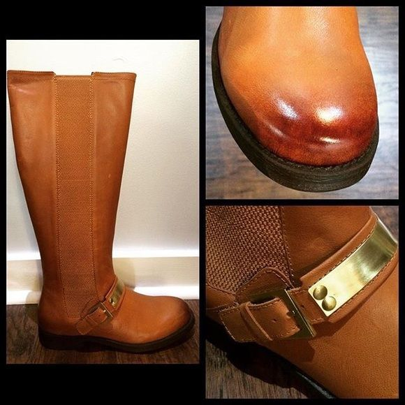 Tall leather boots Leather, cognac colored tall riding boot. True to size. All sales final. No trades. Fits true to size.  Ask for other sizes Nicole  Shoes Combat & Moto Boots