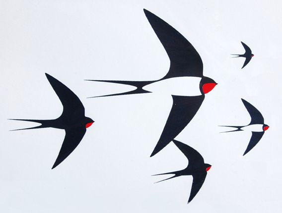 Paul Farrell - Flock of birds screen print //