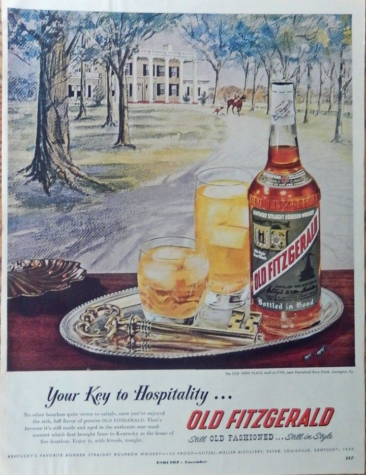 Old Fitzgerald Whiskey  50 s Print ad  Color Illustration  Keeneland Race Track  Lexington  Ky