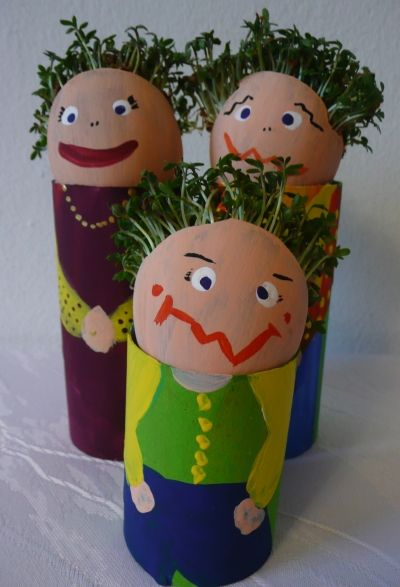 These egg manikins with cress heads are a fantastic and easy kids Easter crafts.