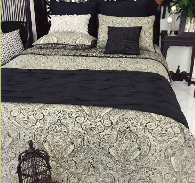 Mendhi Black and Natural DG37 - Features:Cotton, Quilted, Printed, Fully reversible, Cool hand wash, Do not rub, wring, soak or bleach, Lay flat to dry away from direct sunlight, Warm iron, Dry cleaning recommended - #coverletsandcomforters