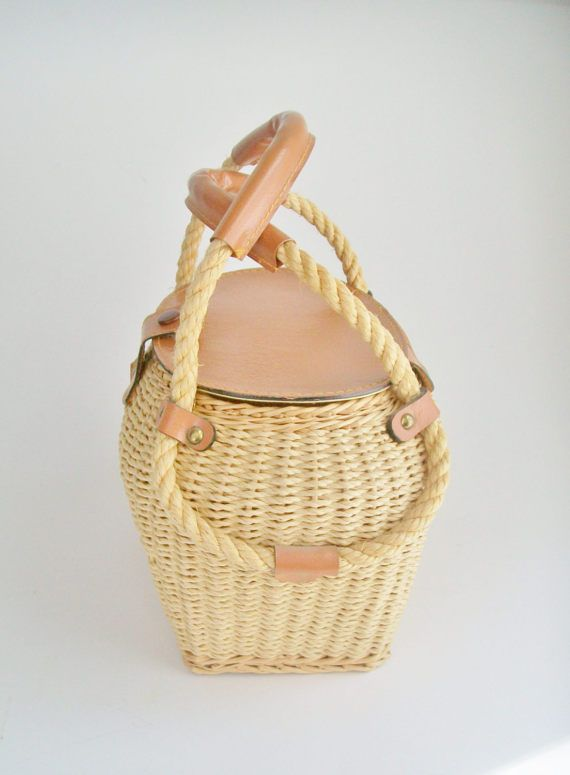 Vintage Wicker Purse Vinyl Trim Lined Spring Summer Handbag