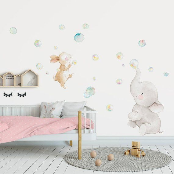 Elephant Wall Decal Baby Nursery Watercolor Bubble Name Fabric