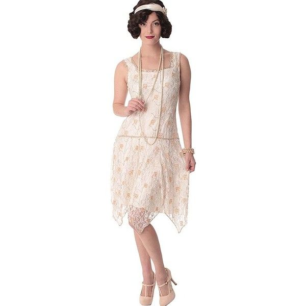 "20s Style Beaded White Lace ""Gabrielle"" Flapper Dress ($235) via Polyvore featuring dresses, beaded flapper dress, bridal dresses, white flapper dress, white beaded cocktail dress and lace cocktail dresses"
