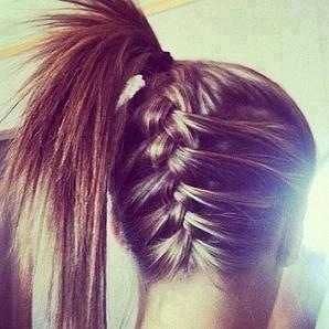 French braid up to a ponytail. Again, need to learn how to do this..