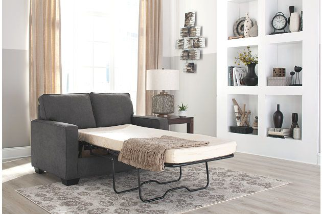 Grey sofa bed with pull out twin mattress