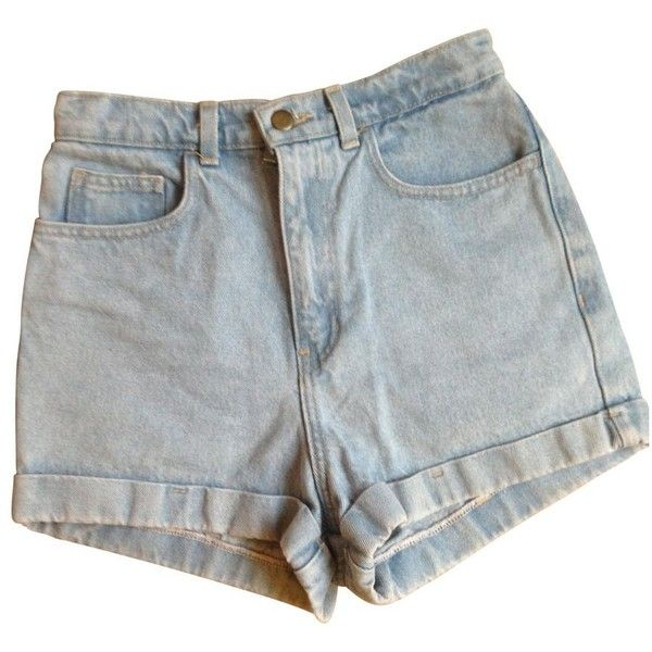 Blue Denim Jeans Shorts AMERICAN APPAREL ($32) ❤ liked on Polyvore featuring shorts, denim shorts, blue shorts, high-waisted shorts, zipper shorts and high rise jean shorts