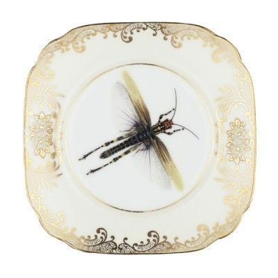 Upcycled Dragonfly Vintage Bone China Side Plate