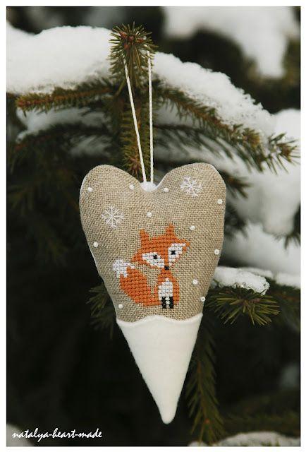 Fox cross stitch ornament