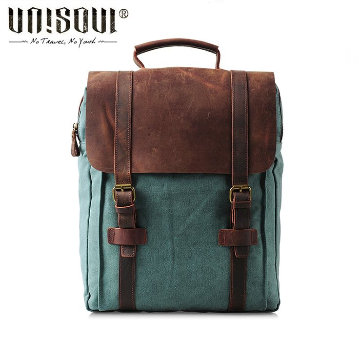 UNISOUL Canvas Genuine Leather Patchwork male Backpack Cover Vintage bags of Women Preppy Style Bag School Backpacks