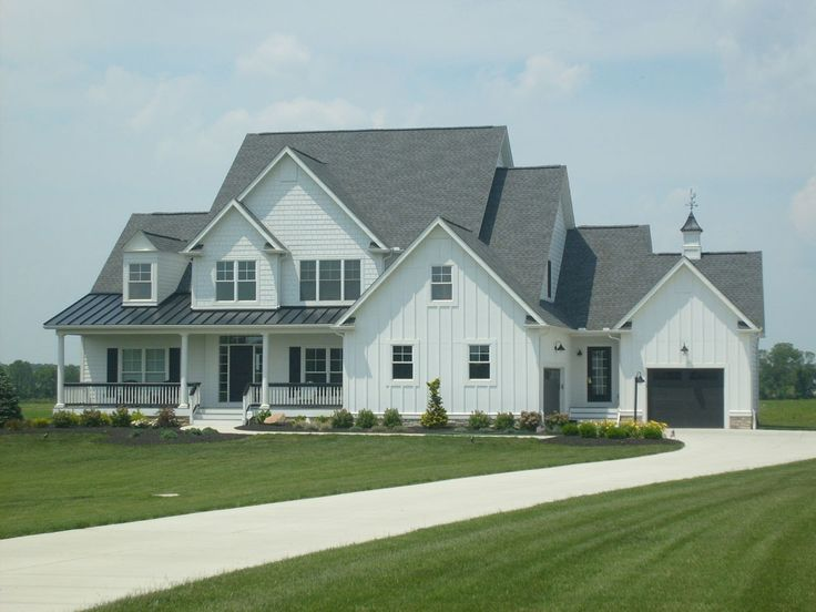 charcoal roofs and white houses White Siding Black Standing