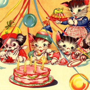 Vintage kitty party... and they even invited the dog!  (hope that mouse isn't part of the dessert! ^^;)