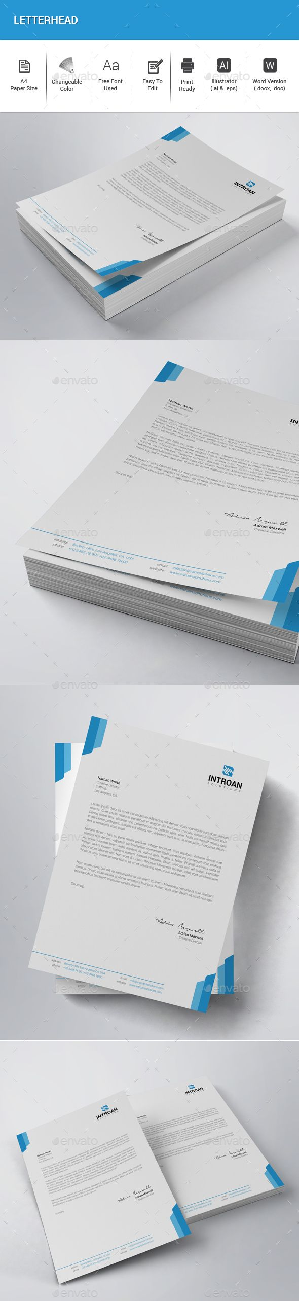 Letterhead Template Vector EPS, AI Illustrator