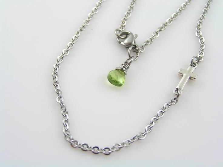 Inline Cross Necklace, Peridot Necklace, August Birthstone, Christian Cross Jewelry, Birthstone Necklace, Peridot Jewelry, Delicate Necklace by ClassicMinimalist on Etsy