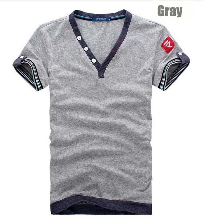 Solid Cotton Men T Shirt Large Size XXL Gray Black White V Neck Tops Tees Fitness Short Sleeve Men T-shirts On Sale 2017 M~XXXL