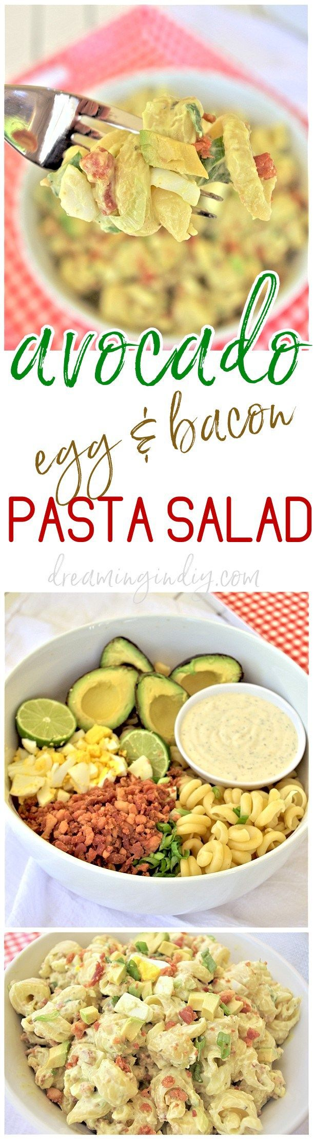 Avocado egg and bacon pasta salad side dish easy quick for Easy cold side dishes for christmas