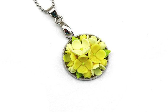 Floral Pendant • Floral jewelry • Etsy jewelry • Jewelers • Сameo pendant • Clay applique • Yellow pendant • Christmas gift idea • Christmas