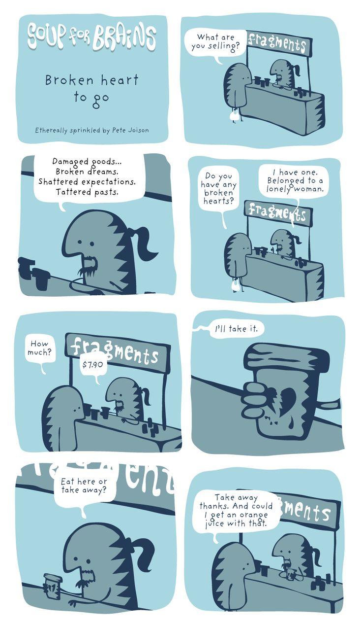 Soup for Brains - Broken heart to go  #weird #webcomic #humor