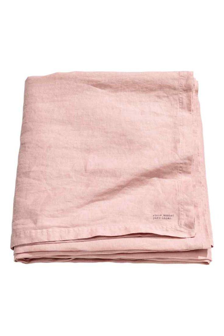Tafelkleed van gewassen linnen - Zachtroze - HOME | H&M NL 1