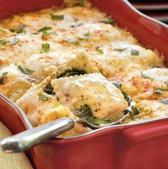 Recipe: Spinach-Ravioli Lasagna Summary: Frozen cheese-filled ravioli brings this lasagna to the dinner table in 45 minutes – a spin on the Italian classic featuring spinach, pesto and Alfredo sauce. Ingredients 6 oz. pkg. fresh baby spinach 1/3 c. pesto sauce 15 ox. jar Alfredo sauce or make your own Olive Garden style 1/4 c. …