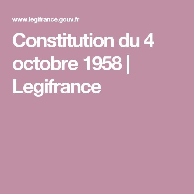 Constitution du 4 octobre 1958  | Legifrance