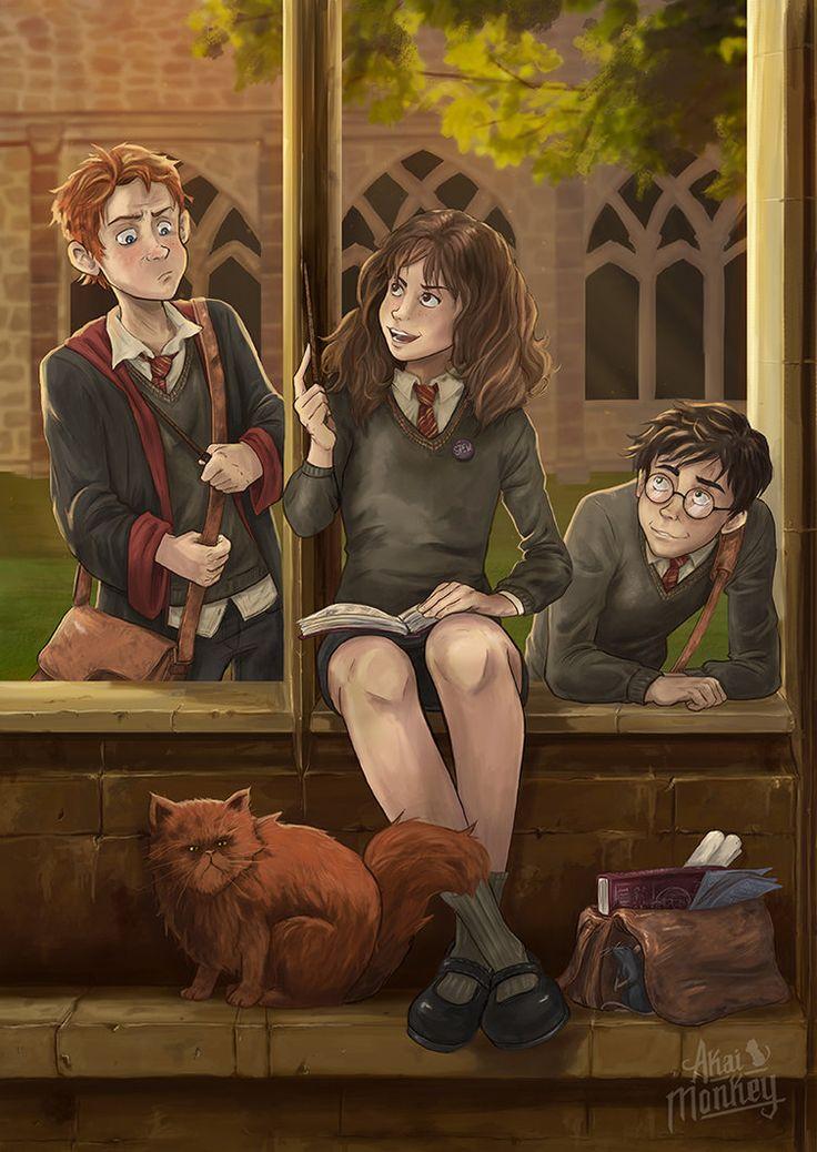 Harry, Hermione and Ron by Akai-Monkey.deviantart.com on @DeviantArt
