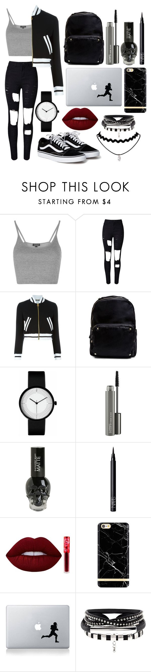 """""""Untitled #96"""" by chica1622 ❤ liked on Polyvore featuring Topshop, WithChic, Moschino, Madden Girl, MAC Cosmetics, NARS Cosmetics, Lime Crime, Richmond & Finch and Vinyl Revolution"""