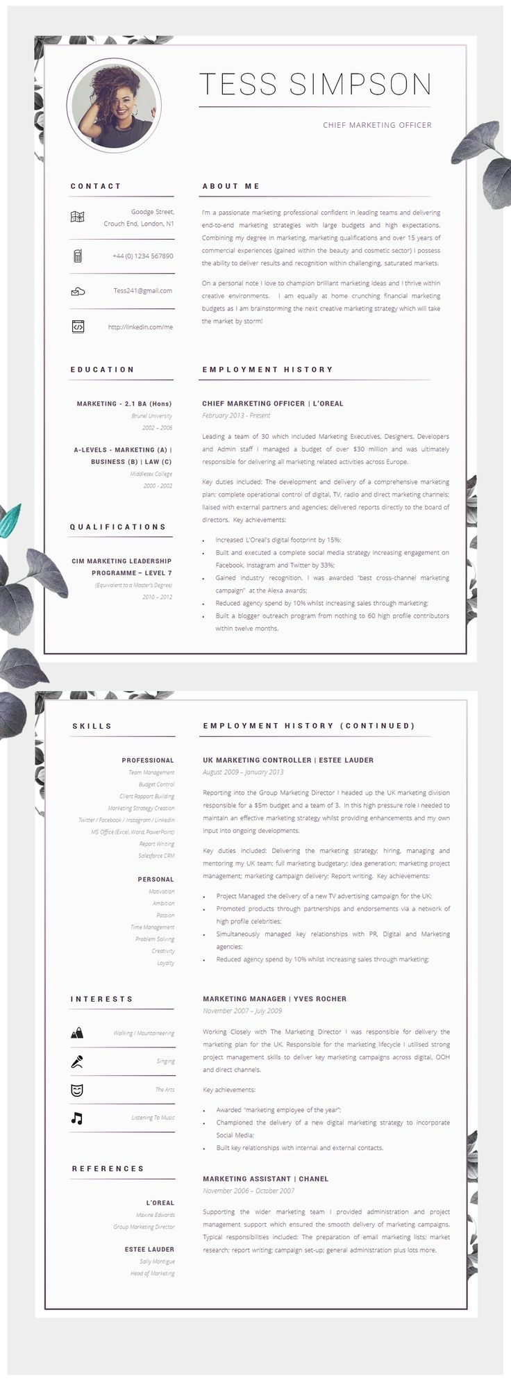 cv template creative resume template two page professional cv cover letter advice printable for word the beauvoir creative cv