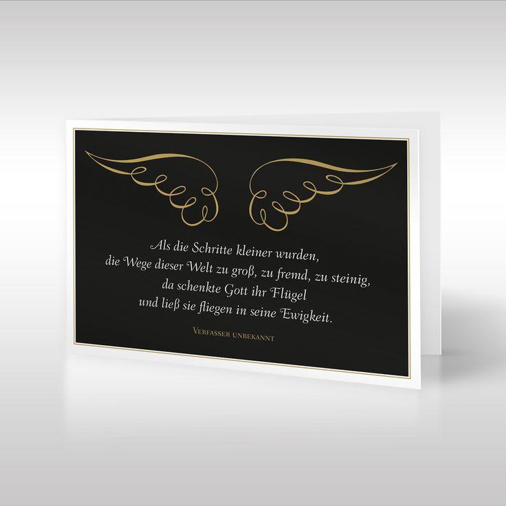 Die anmutige Design-Trauerkarte im Hochformat zeigt goldene Flügel und einen dazu passenden Trauerspruch eines unbekannten Verfassers. Sich kringelnde Streifen bilden ein zartes Flügelpaar, welches sich abhebt vom schweren schwarzen Hintergrund. https://www.design-trauerkarten.de/produkt/engelsfluegel-2/