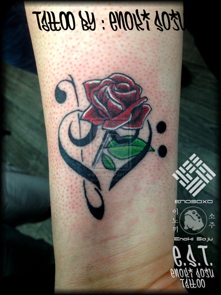 Bass and Treble Clef Heart Tattoo By Enoki Soju by enokisoju.deviantart.com on @deviantART